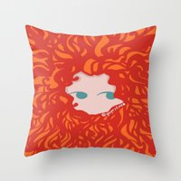 merida Throw Pillows featuring Merida by Glopesfirestar