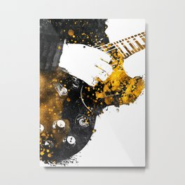 Guitarist music art black and gold #guitarist Metal Print