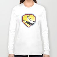 crossfit Long Sleeve T-shirts featuring Crossfit Athlete Muscle-Up Gymnastics Ring Retro by patrimonio