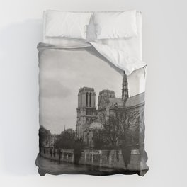 Notre Dame de Paris View from Seine River Paris Duvet Cover