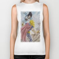vegeta Biker Tanks featuring Vegeta V Thor by Kame Nico
