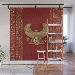 Eye of Horus - Wadjet Gold on Red Leather Wall Mural