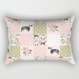 Australian Shepherd Patchwork - purple floral, flowers, dog, dogs, aussie dog, cute dogs, dog blanke Rectangular Pillow