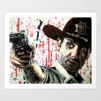 rick grimes Art Prints featuring Rick Grimes by Chuck Hodi