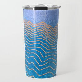 Abstract mountain line art in blue sky grunge textured vintage illustration background Travel Mug