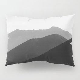 Simple Minimalist Landscape Parallax Mountain Landscape Black And White Pillow Sham