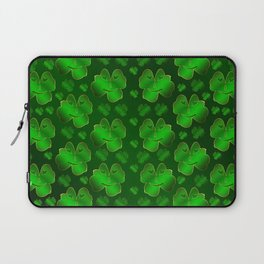 funny, laughing, shamrocks, green, st patricks day, shiny, gold, face, smile, shamrock Laptop Sleeve