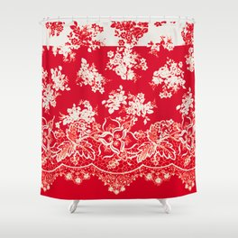 small bouquets in bright red with border Shower Curtain