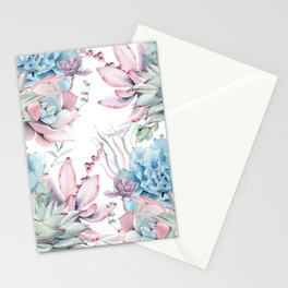 Pretty Pastel Succulents Garden 2 Stationery Cards