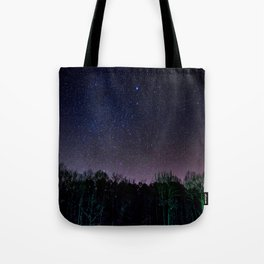 Star Night Sky Purple Hes With Forest Silhouette Tote Bag