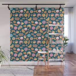 Mexican Sweet Bakery Frenzy // turquoise background // pastel colors pan dulce Wall Mural