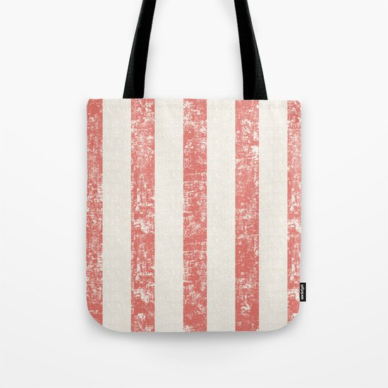 Maritime Beach Pattern- Red and White Stripes- Vertical - Tote Bag