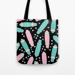Pastel Skateboards Pattern - Pastel on Black Tote Bag