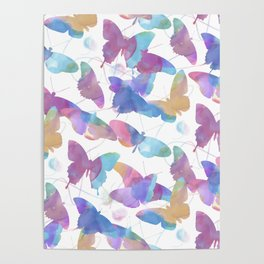 seamless   pattern of watercolor butterflies Poster