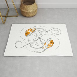 Dancing Koi Fish Yin Yang Line Drawing Rug