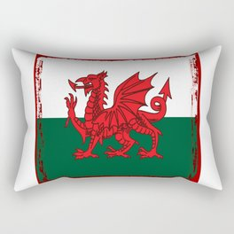 Y Ddraig Goch Grunge Welsh Flag Rectangular Pillow