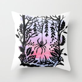 Spider Spider Spin Your Web For Night Is Coming Soon Throw Pillow