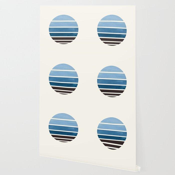 Navy Blue Minimalist Mid Century Modern Watercolor Stripes