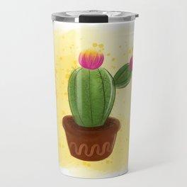 Hand drawn watercolor  cactus. Travel Mug