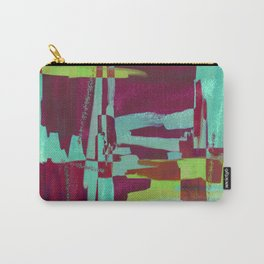 Raspberry Jam - Textured, abstract, raspberry, cyan and green painting Carry-All Pouch