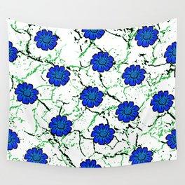 Summer Bloom - Blue Wall Tapestry