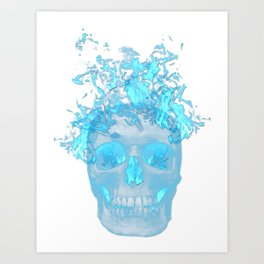 Blue Flame Skull Art Print
