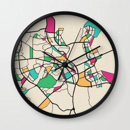 Colorful City Maps: Kiev, Ukraine Wall Clock