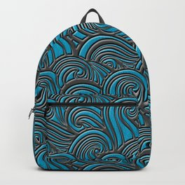 Waves Leather Pattern Blue and Gray Backpack