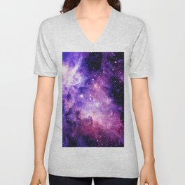 Galaxy Nebula Purple Pink : Carina Nebula Unisex V-Neck