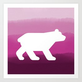 Inverted Pink Bear - Wildlife Series Art Print