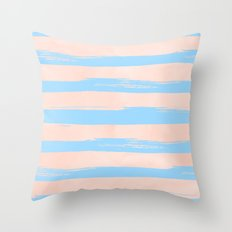 Trendy Stripes - Sweet Peach Coral on Blue Raspberry Throw Pillow