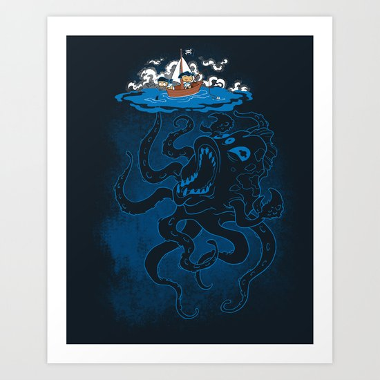 Here There Be Monster Art Print