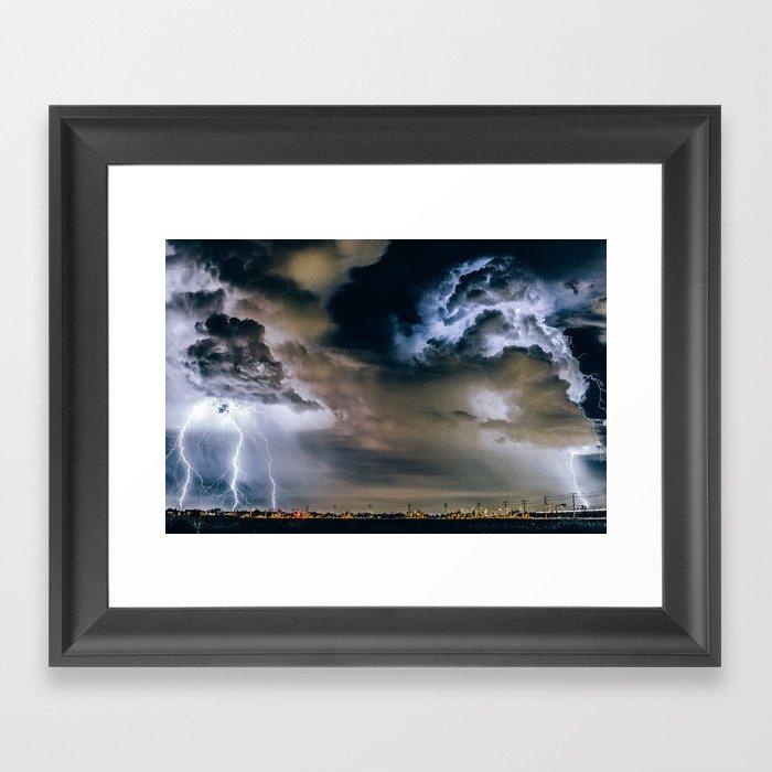 Lightning #clouds Framed Art Print