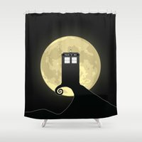 nightmare before christmas Shower Curtains featuring Nightmare Before A Tardis by kamonkey