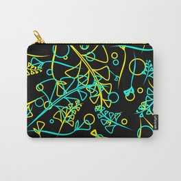 Botanical bright pattern of goffed and yellow plants and grass blades on a black background. Carry-All Pouch