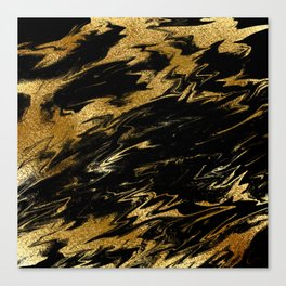 Luxury and sparkle gold glitter and black marble Canvas Print