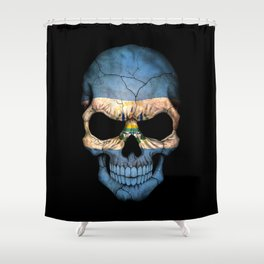 Dark Skull with Flag of El Salvador Shower Curtain