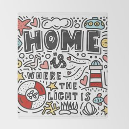 Home is where the light is. Doodles and lettering Throw Blanket