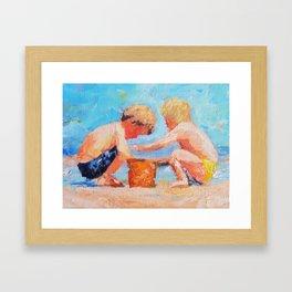 Playing on the beach Framed Art Print