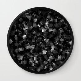 dark,many small colored squares shaded superimposed Wall Clock
