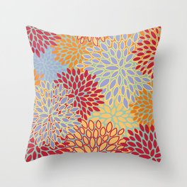 Festive, Bright and Colorful, Floral Prints,  Throw Pillow