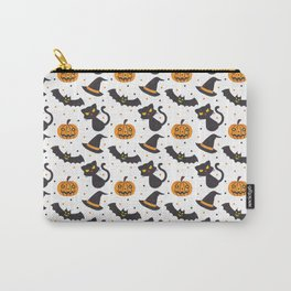 Black orange watercolor polka dots halloween pattern Carry-All Pouch