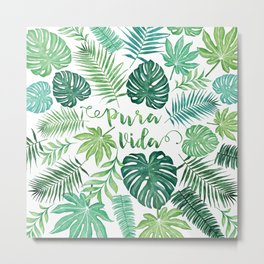 Tropical Pura Vida Palm Leaves and Monstera Watercolor Metal Print