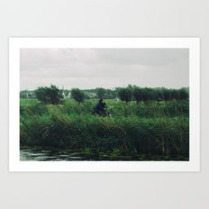 WIND BIKE WATER RAIN Art Print