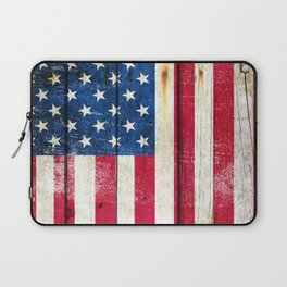 Vintage American Flag On Old Barn Wood Laptop Sleeve