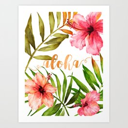 Aloha Watercolor Tropical Hawaiian leaves and flowers Kunstdrucke