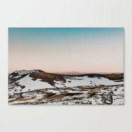 Northern Colorado Snowy Mountains | Cotton Candy Sunset Canvas Print