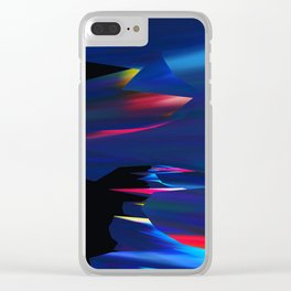Blue Glitch Streak Clear iPhone Case