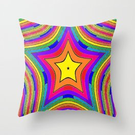 Colorful Rainbow Star w/gold Throw Pillow