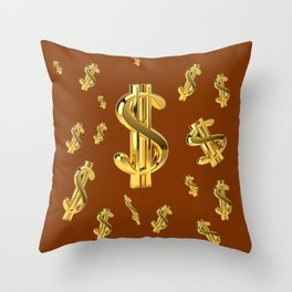FLOATING GOLDEN DOLLARS  IN COFFEE BROWN DESIGN Throw Pillow